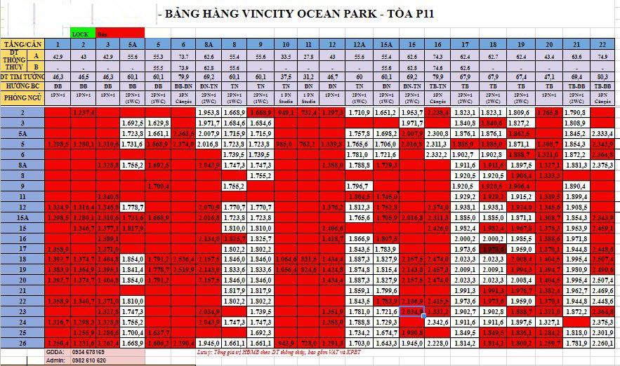 Tòa Park 11 Vinhomes Ocean Park: Mặt bằng, Giá Bán, Chính Sách CK